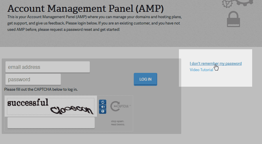 Click forgot password link Account Management Panel AMP