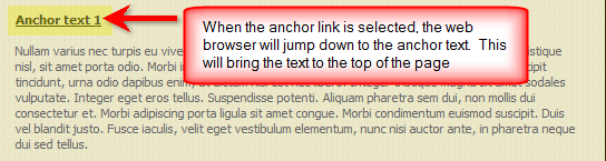 Anchor text shown after anchor link selected