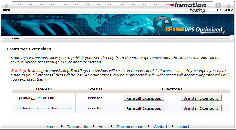 List of websites in Cpanel with Front Page Extension loaded
