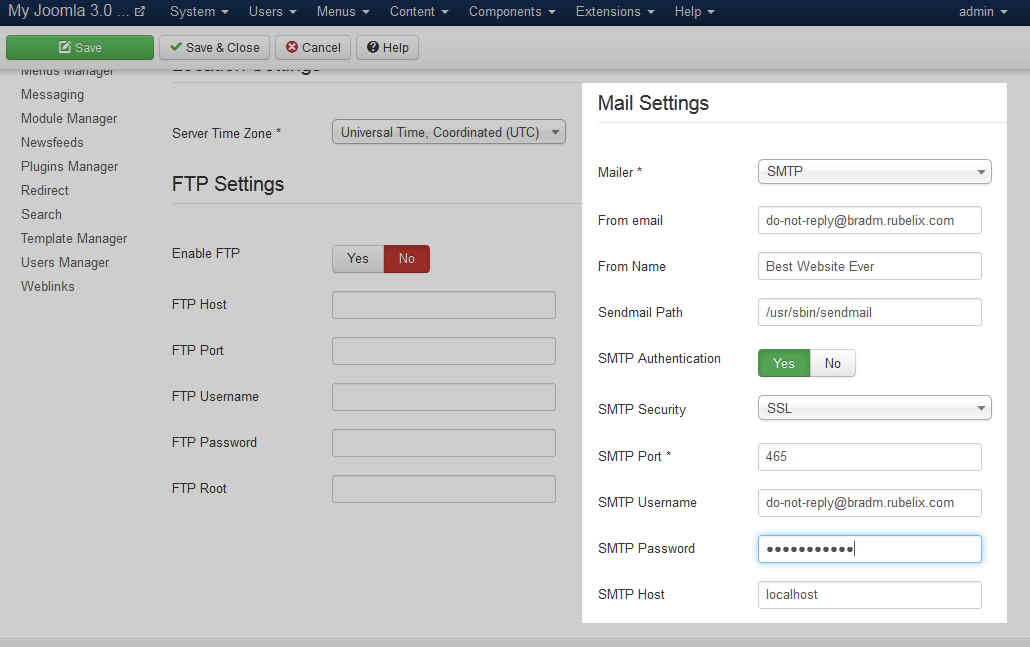 joomla-3.0-smtp-mail-settings