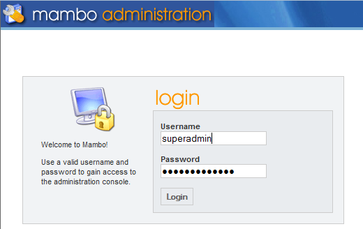admin login screen