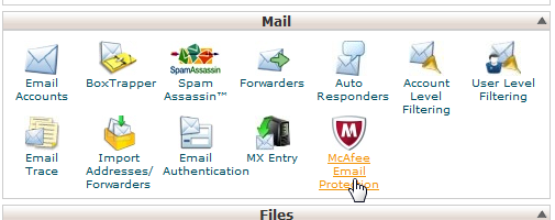 McAfee icon in cPanel