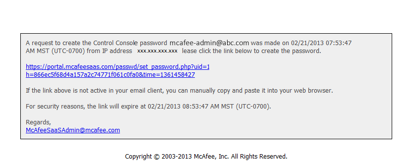 Sample of email sent to customer with link for the change of the password.