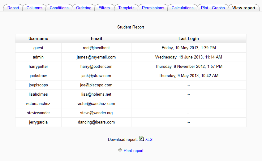 View the report Moodle Configurable reports
