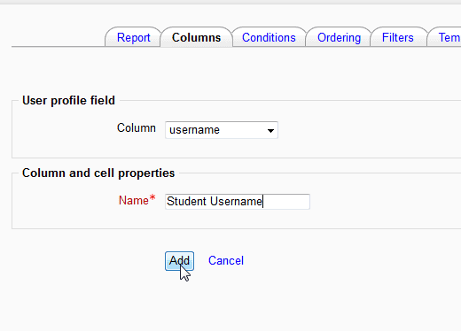 Add Field Moodle Configurable reports