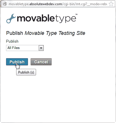 Press publish Movable Type