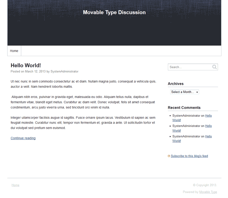 Blog features in Movable Type
