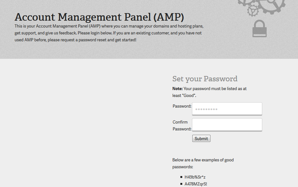 First time login - Account Management Panel