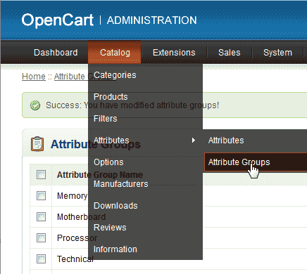 Attribute groups in OpenCart