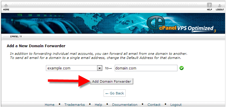 cpanel domain forwarder setup page
