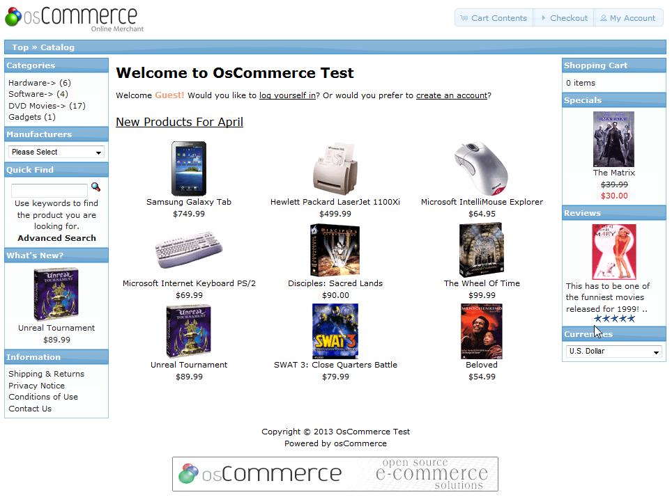 Default osCommerce store page - banner is at the bottom