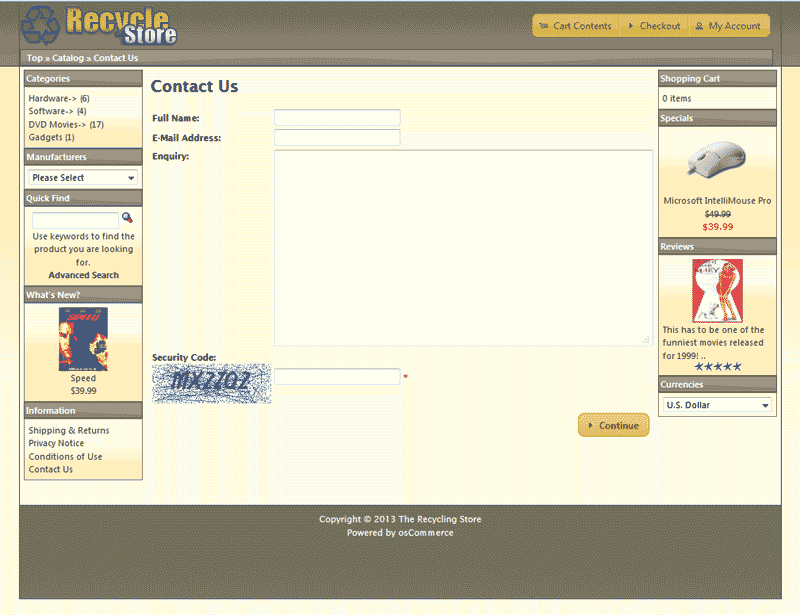 Final view of captcha osCommerce