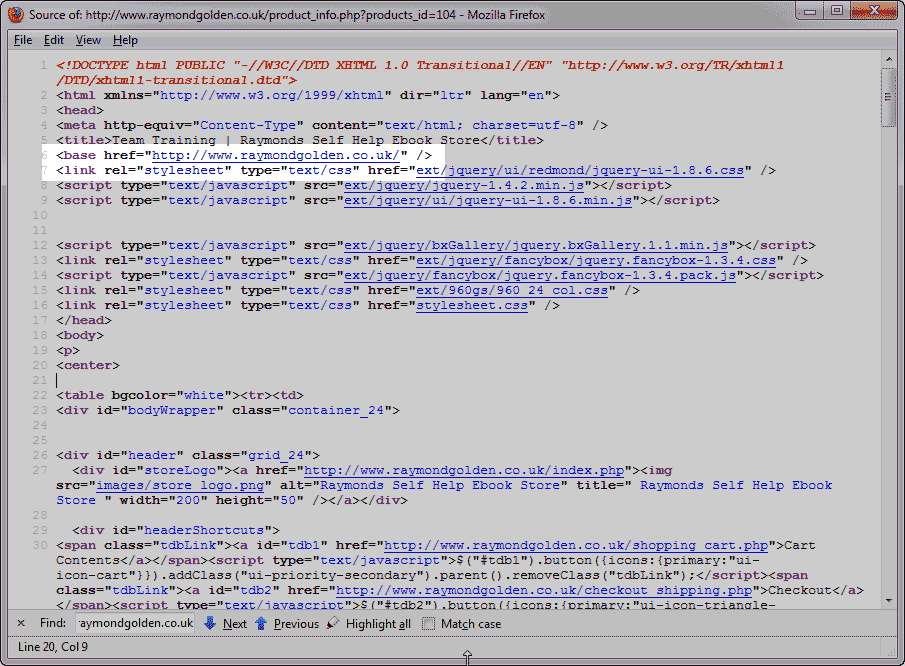 Code view of base href osCommerce