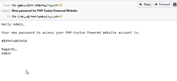 New Password email PHP-Fusion
