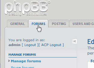Select Forum Tab phpBB