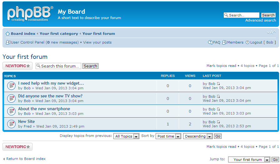 phpBB is an online bulletin board