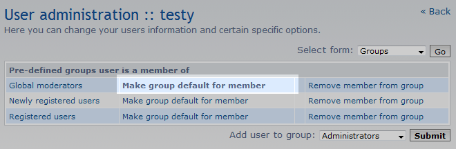 set the default group