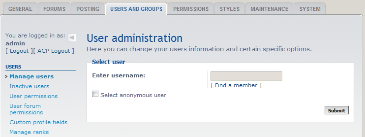 click on user management