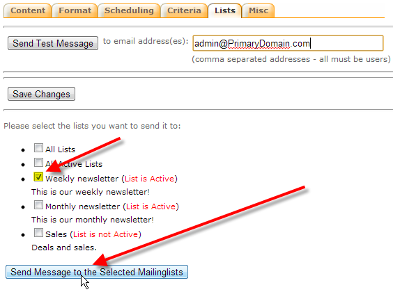 select mailing lists to mail then click send message