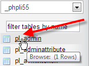 click on pl_admin table