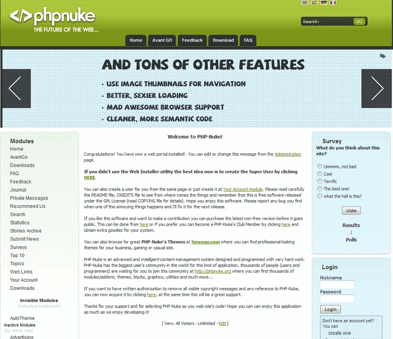 Final View PHP-Nuke Softaculous