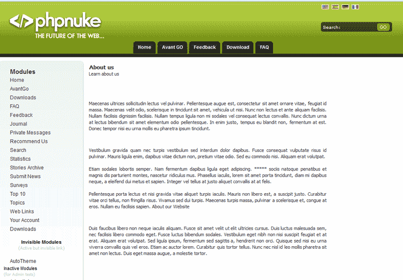 View of content page PHP-Nuke
