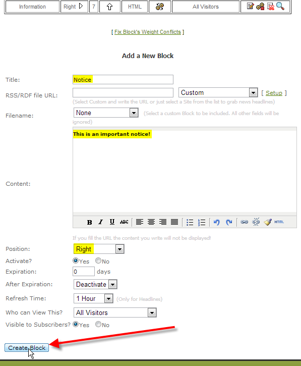 fill out block info click on create block
