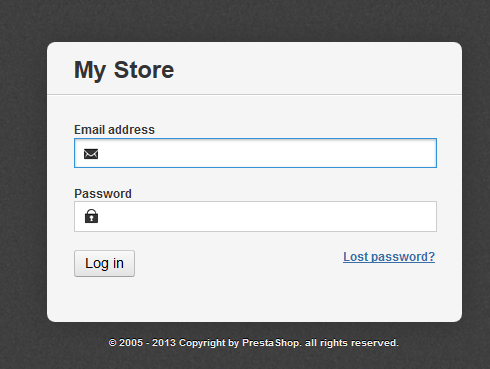 Login Screen for Prestashop