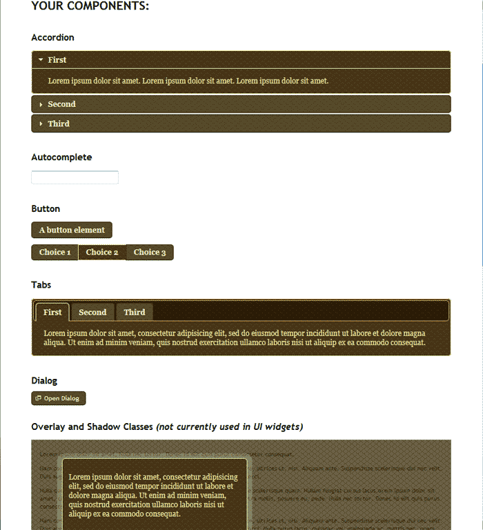 Theme styles available jQuery Theme Roller