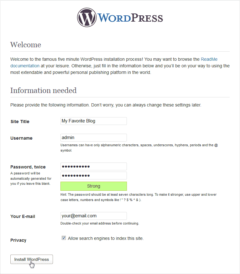 Install Screen for WordPress