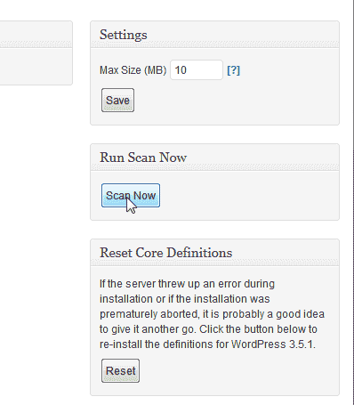 Scan your WordPRess site Look See Security Scanner WordPress