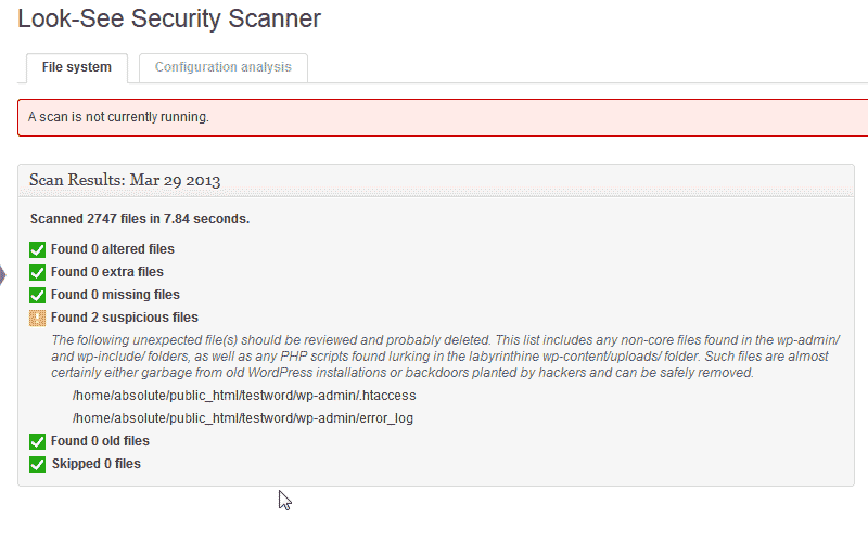 Results for the scan Look See Security Scanner WordPress