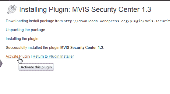 Activate the WordPress MVIS Security Center plugin