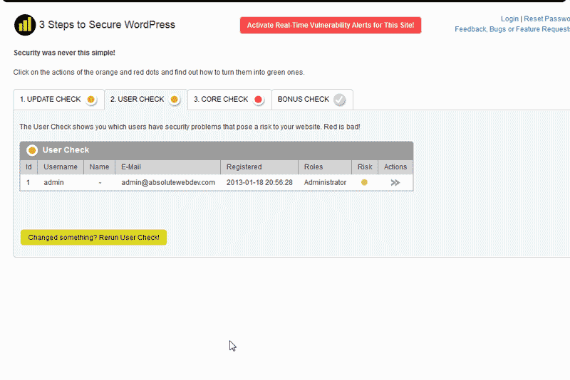 User Check WordPress MVIS Security Center plugin