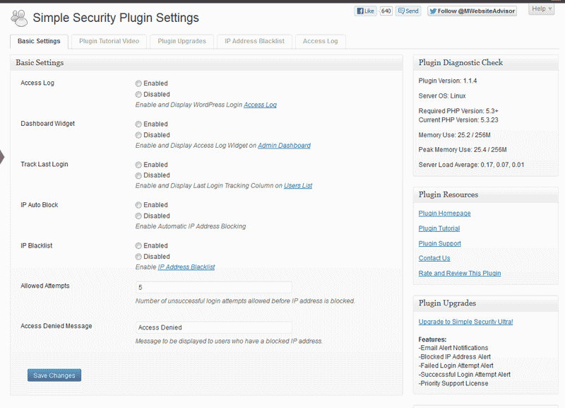 Basic Settings for Simple Security Pliugion WordPress