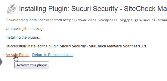Activate Sucuri Security - SiteCheck Malware Scanner plugin for WordPress