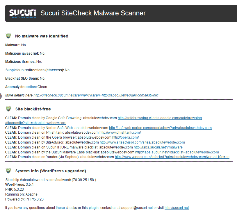 MalWare results Sucuri Security - SiteCheck Malware Scanner plugin for WordPress
