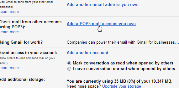 Add POP3 SMTP Gmail