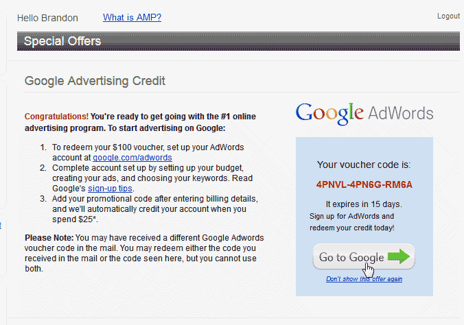 Get your AdWords Code Google