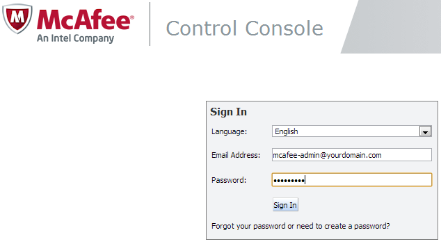mcafee email protection login page