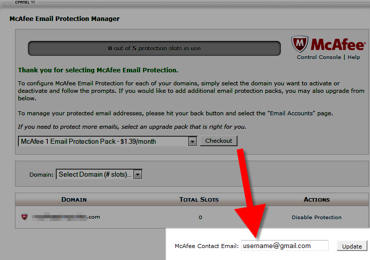 viewing the mcafee contact email in cpanel