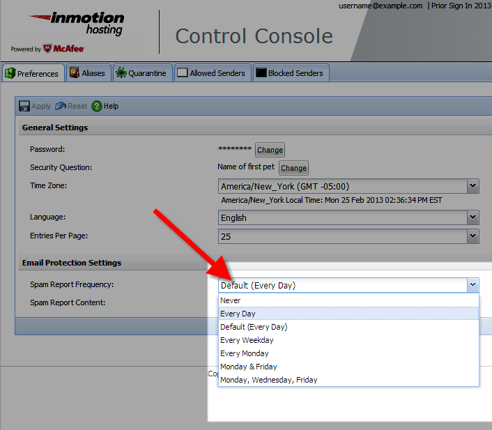 selecting how often you want to receive a spam report inthe mcafee control console