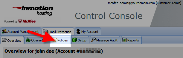 selecting the policy tab in the mcafee control console