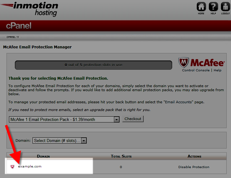 Domain now McAfee protected