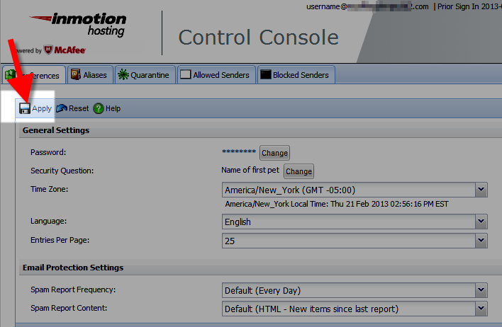 applying your changes in the mcafee control console