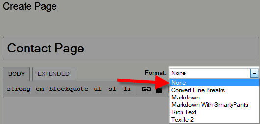 changing the format option in movable type