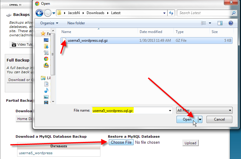 cpanel backups click choose file then open