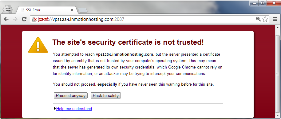 chrome self signed ssl warning