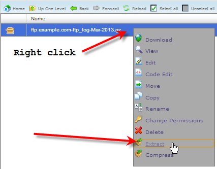 right click archived log click extract