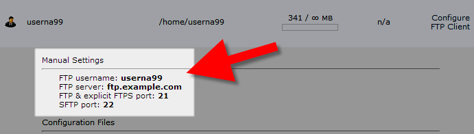 view of ftp settings in cpanel